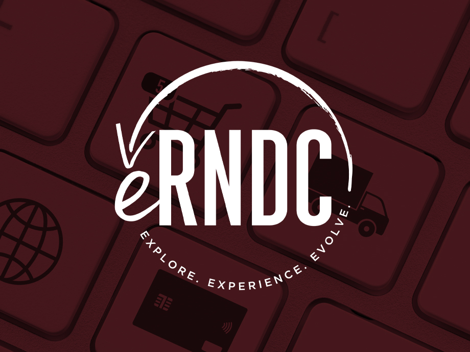 eRNDC logo with a red background