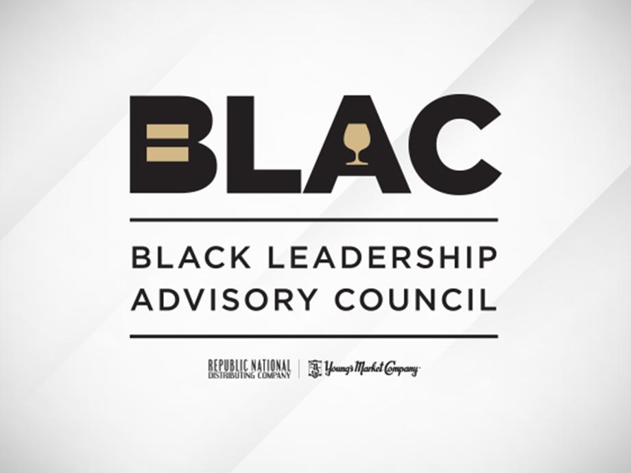 Black Leadership Advisory Council logo on white and black streaked background